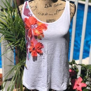 Tank with floral and sequin embellishment